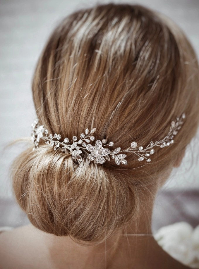 Dawn TLH3067 silver diamante and pearl bridal hair vine 30cm long on blonde bride hair up