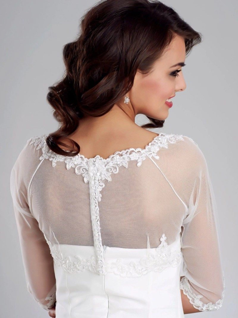 E150 BB150 lace and tulle bridal jacket button up back view