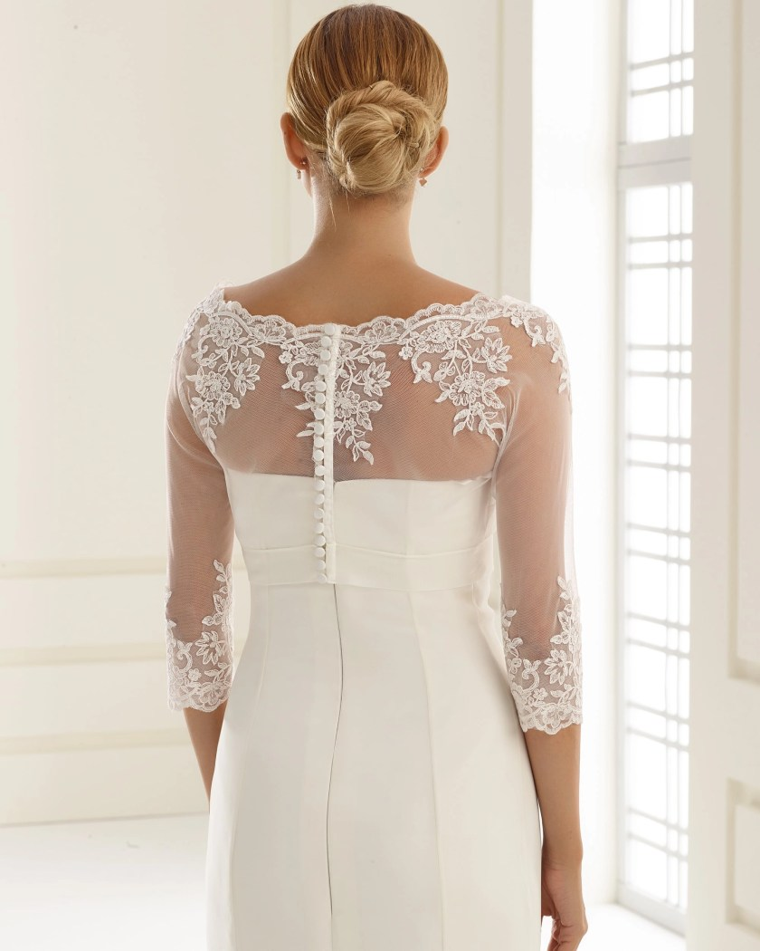 E176 BB1176 boat neck lace bridal jacket button up back with sleeves (2)