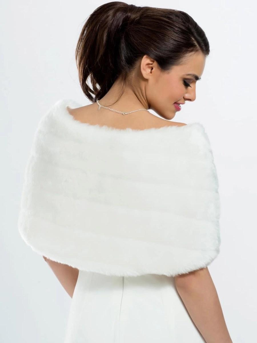 E22 BB22 faux fur bridal shoulder cape shrug wrap with a satin bow back
