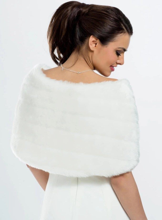 E22 BB22 faux fur bridal shoulder cape shrug wrap with a satin bow back