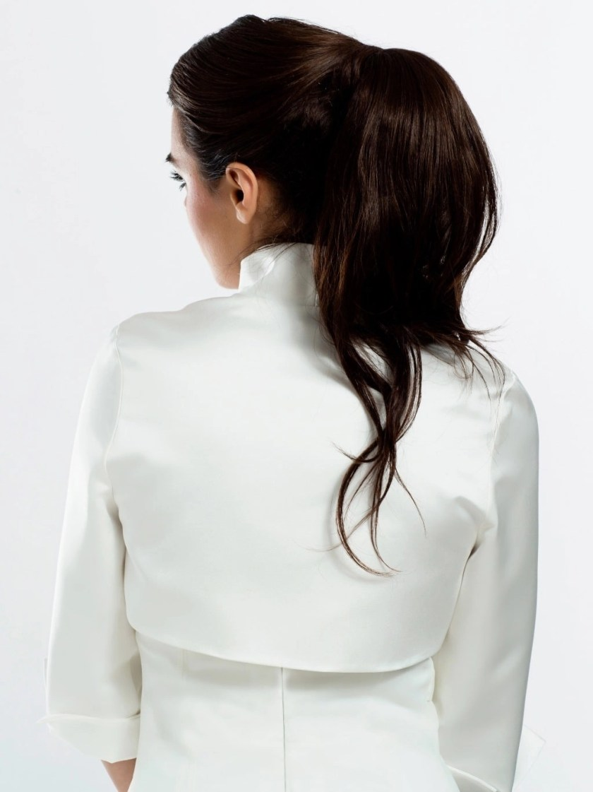 E55S BB55s satin bridal jacet bolero with sleeves front back