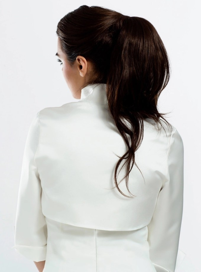 E55S BB55s satin bridal jacet bolero with sleeves front back