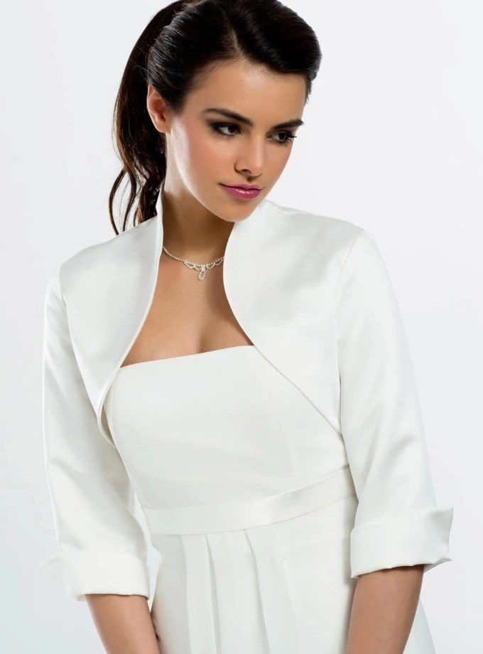 E55S BB55s satin bridal jacet bolero with sleeves front