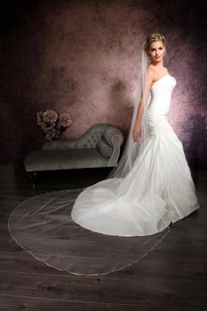 Beautiful bride wearing a long veil with narrow ribbon edging