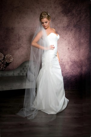 Bride posing in one tier floor length veil