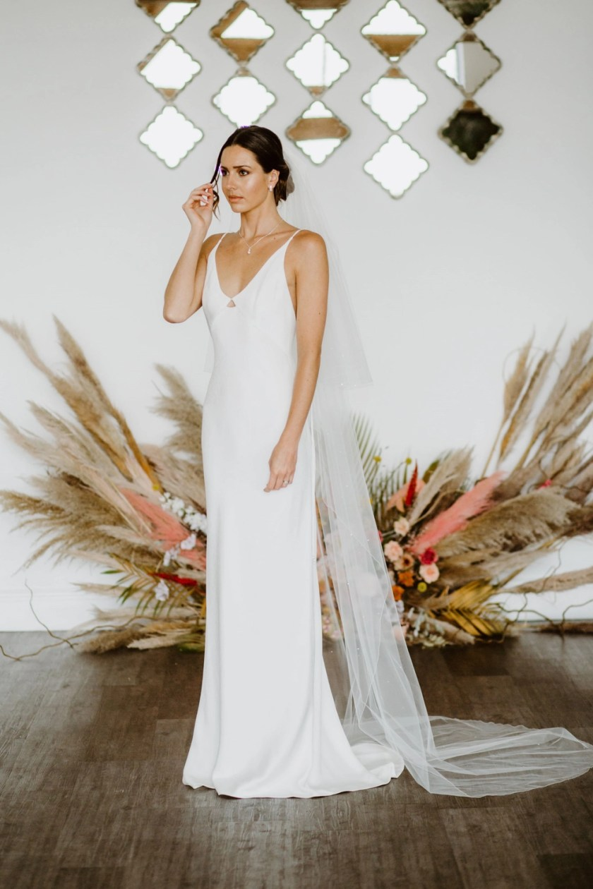 Nadia – two tier chapel length veil with scattered diamantes