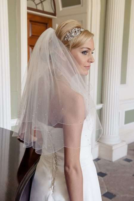 Rain triple diamante beaded veil in elbow length alt
