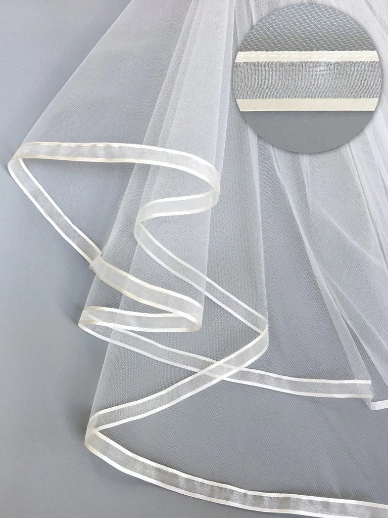 Satin & organza Ribbon on a veil