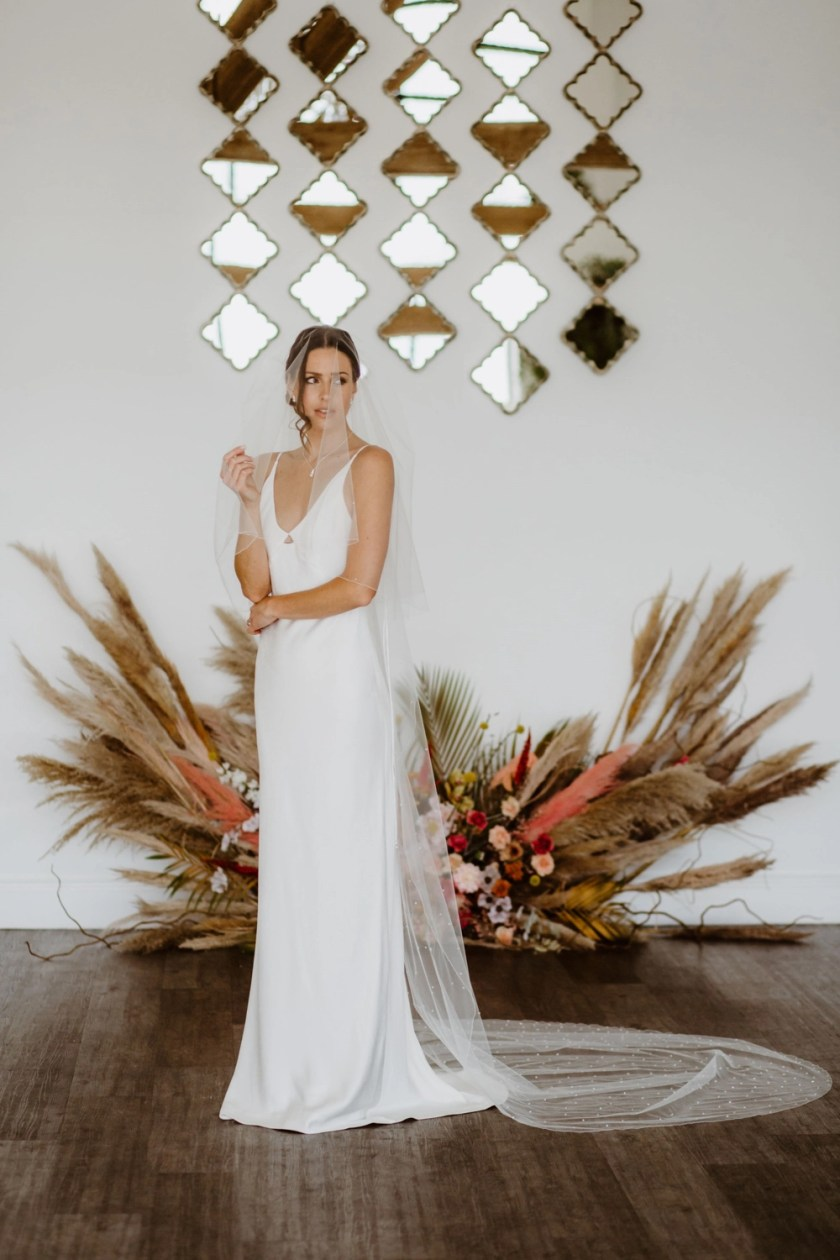 Serena - two layer cathedral length veil with crystals falling stars