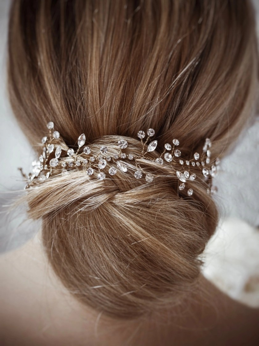 Sunrise TLH3079 gold diamante bridal hair vine 40cm long on blonde bride hair up detail