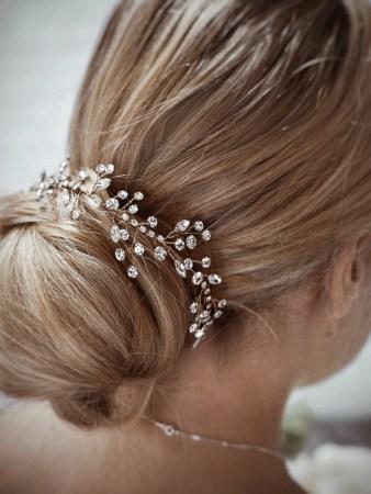 Sunrise TLH3079 gold diamante bridal hair vine 40cm long on blonde bride hair up