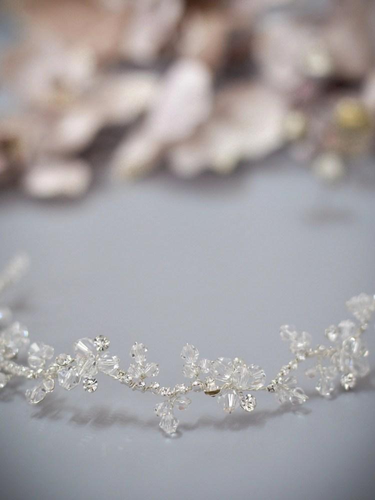Twilight TLH3064 silver diamante and crystal bridal hair vine 30cm long closeup