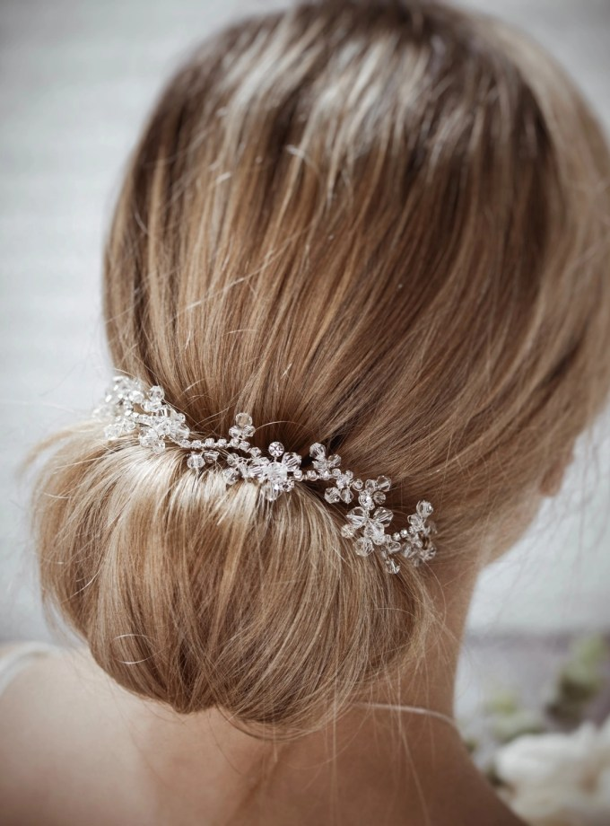 Twilight TLH3064 silver diamante and crystal bridal hair vine 30cm long on blonde bride hair up
