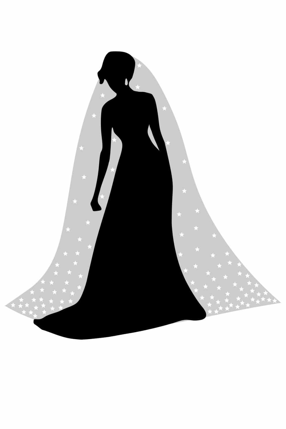 infographic of a veil with crystals falling stars beading layout