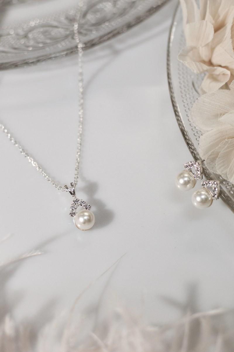 TLS1576 bridal wedding jewellery set with pearls and diamantes