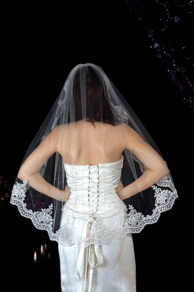 Hip length lace edge veil