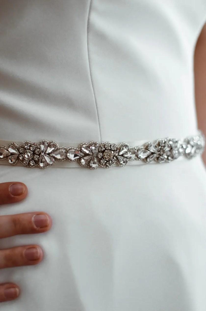 PBB1001 – narrow diamante bridal belt on model 1