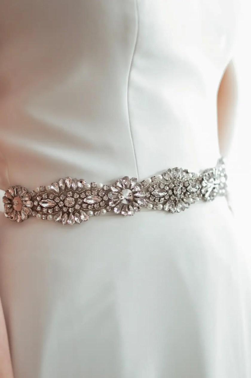 PBB1012 – diamante, pearl & seed bead bridal belt on model 1
