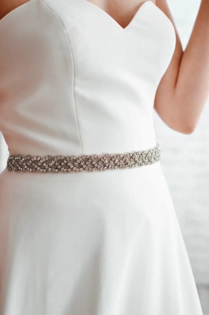 PBB1019 – plaited diamante bridal belt on model 2