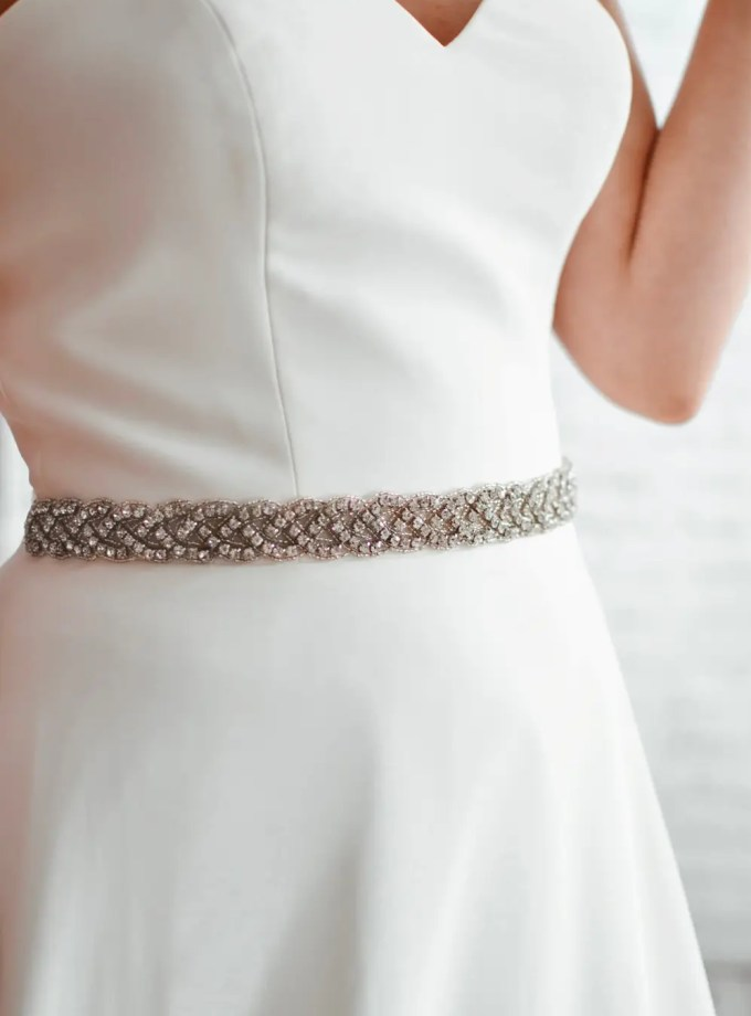 PBB1019 – plaited diamante bridal belt on model 2