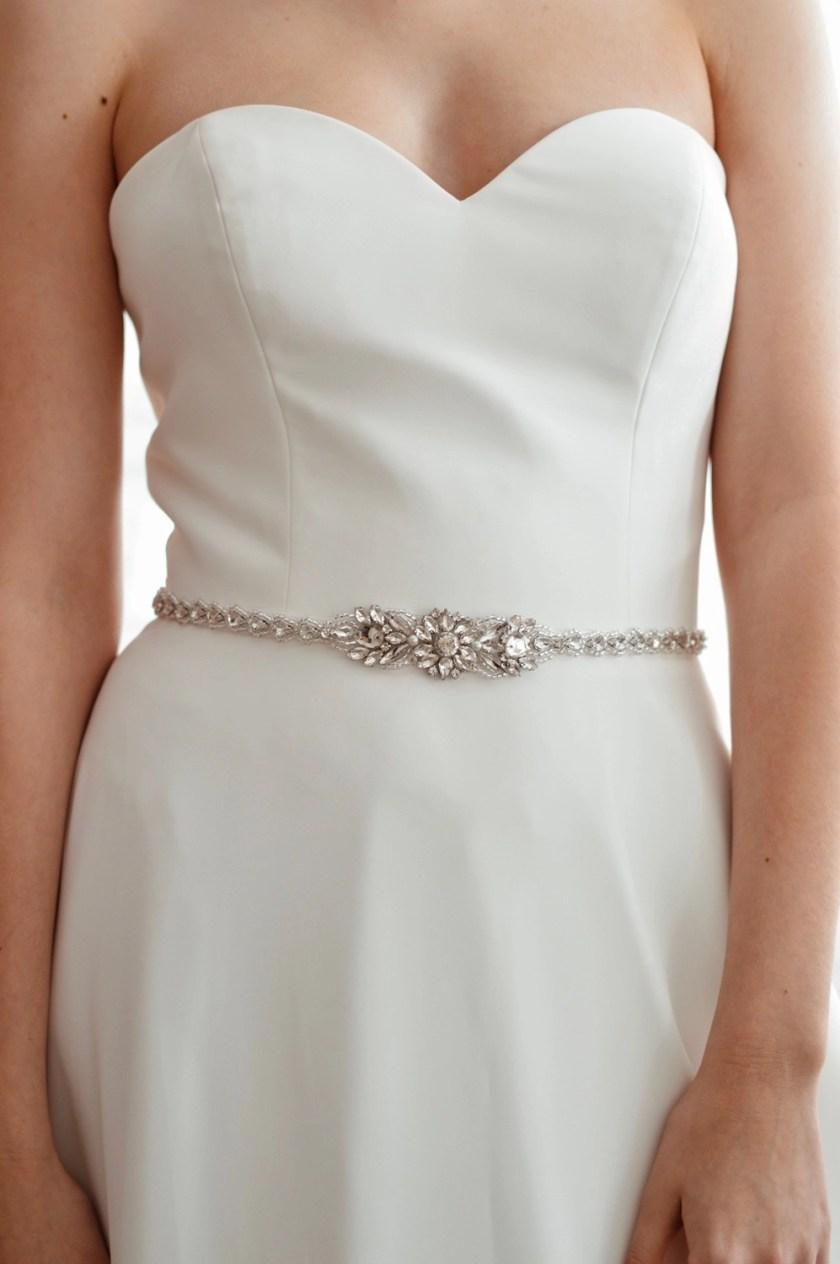 PBB1020 – narrow diamante bridal belt with teardrop crystals on model 4