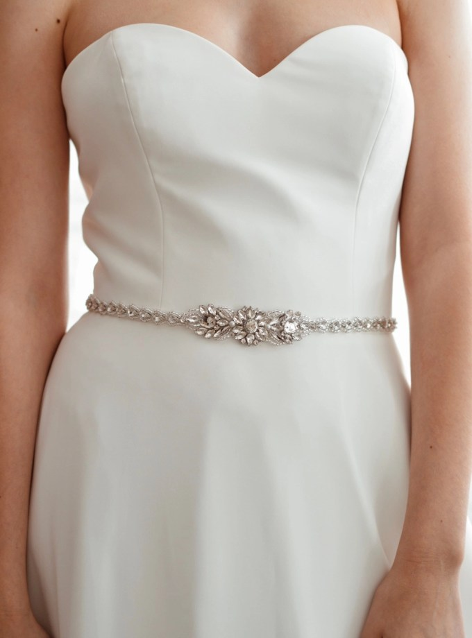 PBB1020 – narrow diamante bridal belt with teardrop crystals on model 4