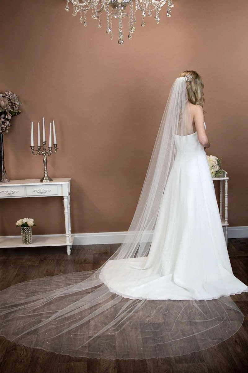 Alexis - extra long cathedral length wedding full width veil with pearls and crystals on bride