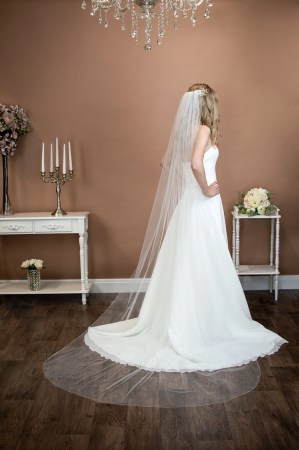 Bianca - long single layer chapel length veil with diamantes on bride