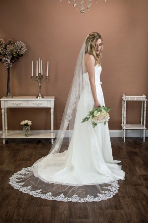 Eleanor - long single layer chapel length veil with tapered lace to elbow level on bride