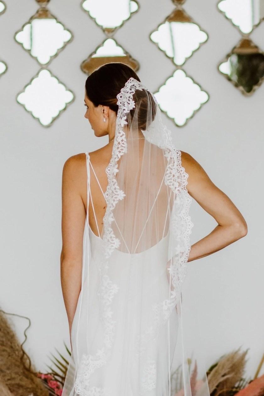 Harmony mantilla lace veil closeup