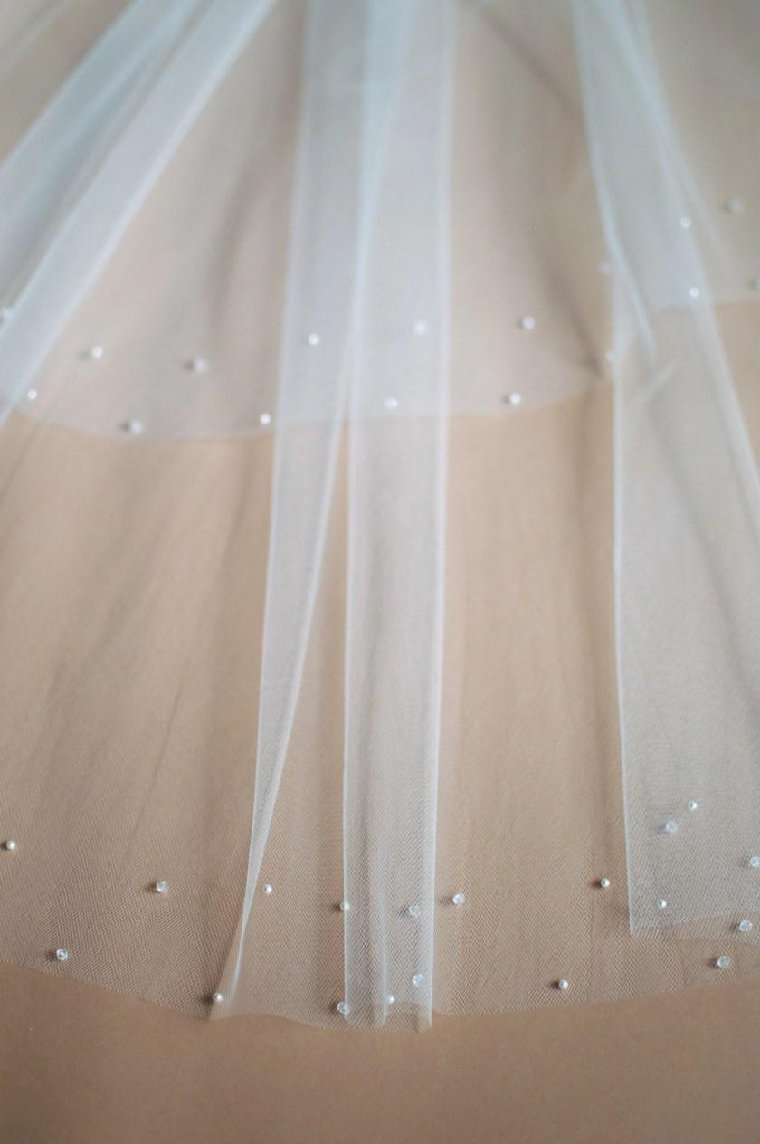 Larissa beaded edge veil closeup