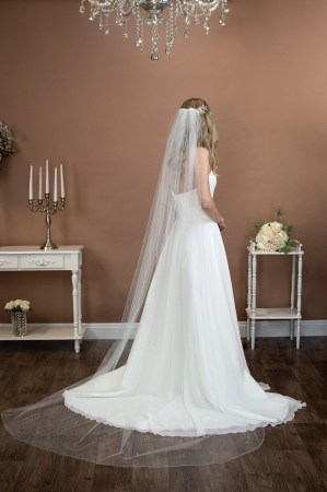 Lola - long one layer chapel length veil with a pearl and diamante design on bride
