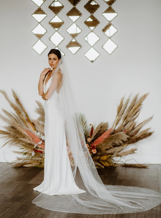 "Phoenix - one layer cathedral length veil with diamantes ""falling stars"""