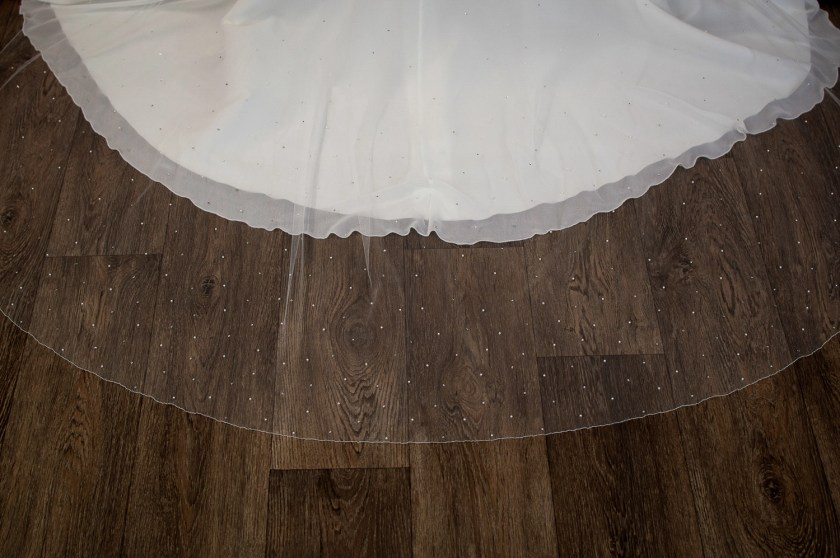 Siobhan - two tier chapel length veil with pearls and diamantes falling stars detail