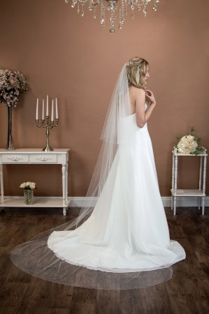 Siobhan - long two tier chapel length veil with pearls and diamantes falling stars on bride