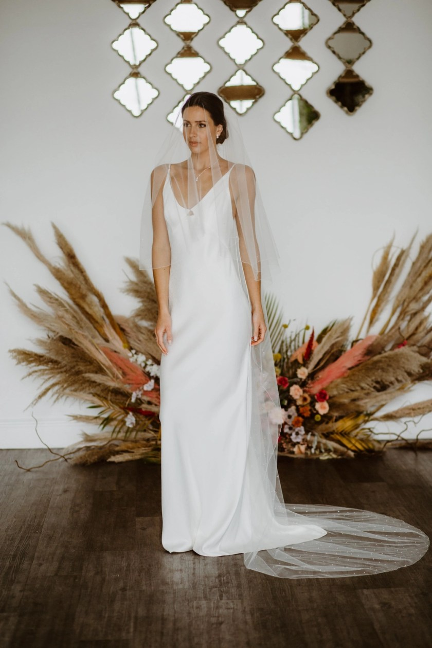 Siobhan - two tier chapel length veil with pearls and diamantes