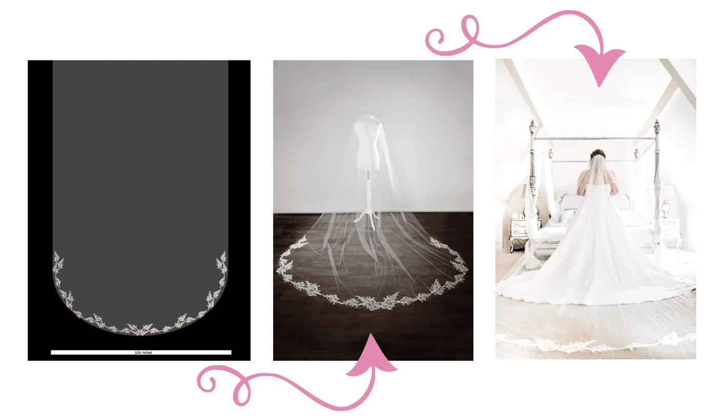 how the bespoke lace veil process works