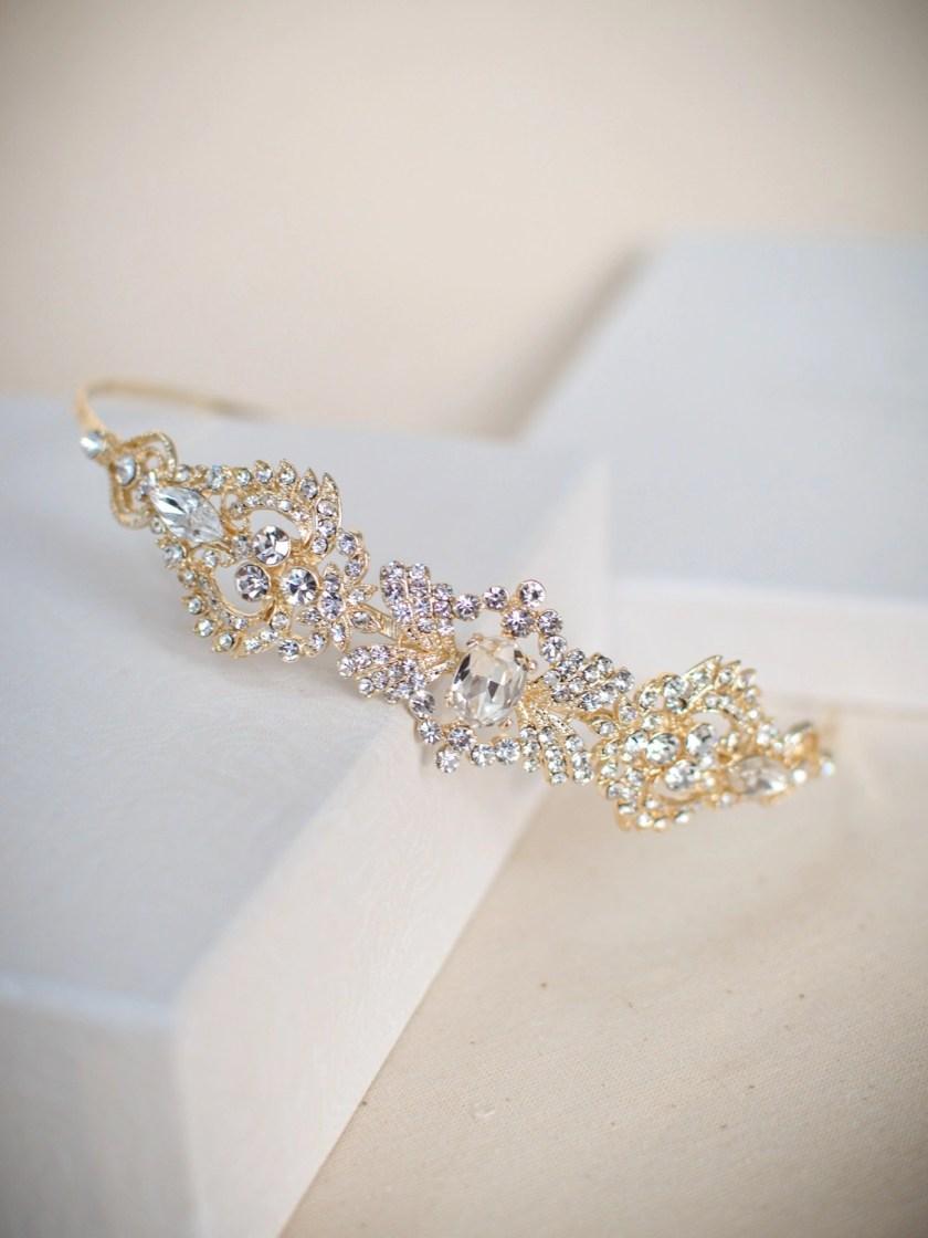 TLT4674 - Art Deco style diamante side headband in soft gold