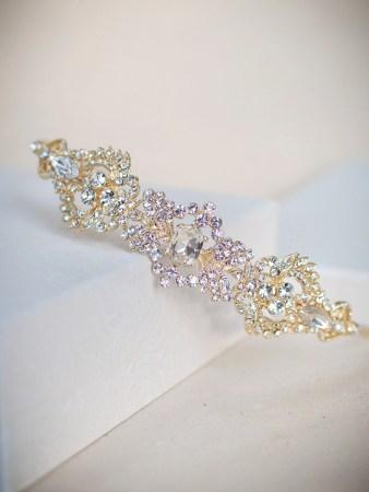 LT4674 - Art Deco style diamante side headband in soft gold