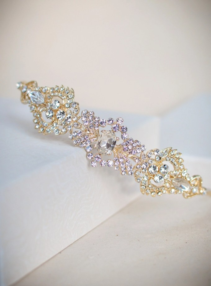 LT4674 - Art Deco style diamante side headband in soft gold