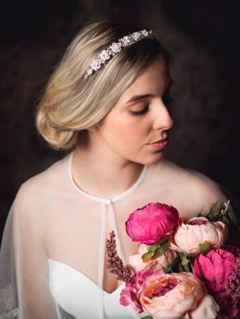 Alice - classic pearl, crystal & diamante bridal headband on a model bride TLT4515