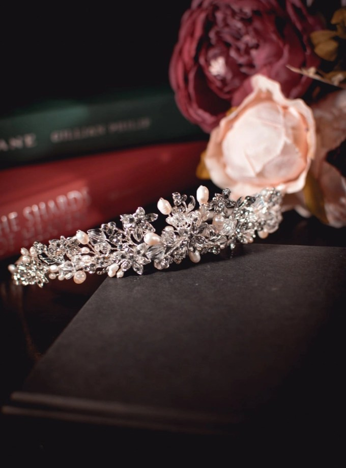Anne - silver crystal & pearl bridal tiara on books
