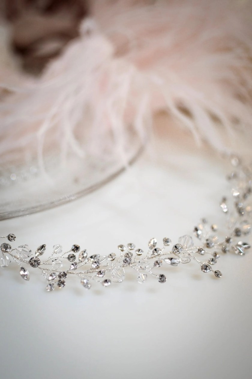 Aurora - Boho bridal hair vine with crystals & diamantes closeup on white tlh3078