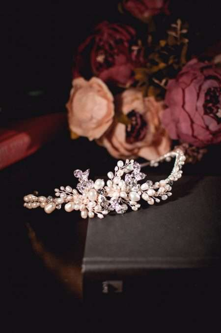 Bette - vintage style bridal headband with pearls & diamantes on books TLT4633