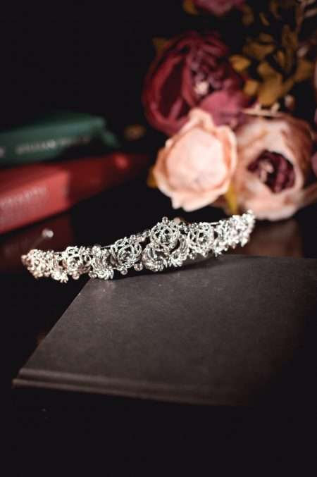 Daenerys - silver diamante bridal tiara with detailed metalwork on books