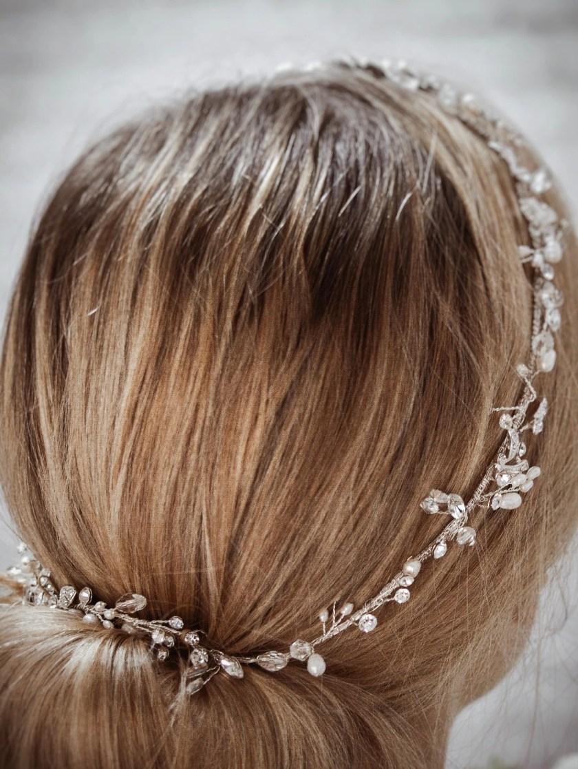 Halo TLH3124 silver diamante and pearl bridal hair vine 60cm long on blonde bride hair up detail