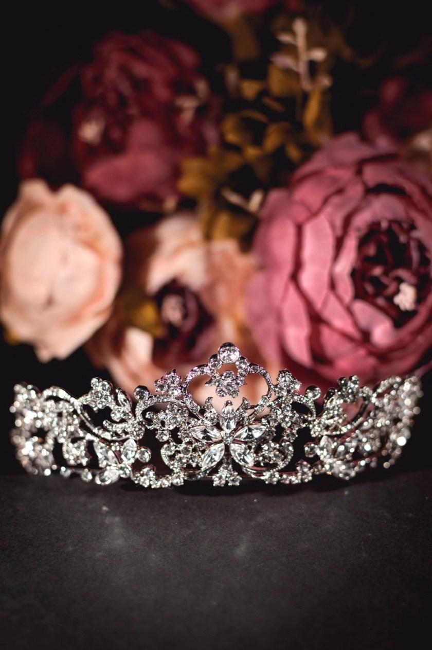 Regina large silver diamante bridal tiara closeup