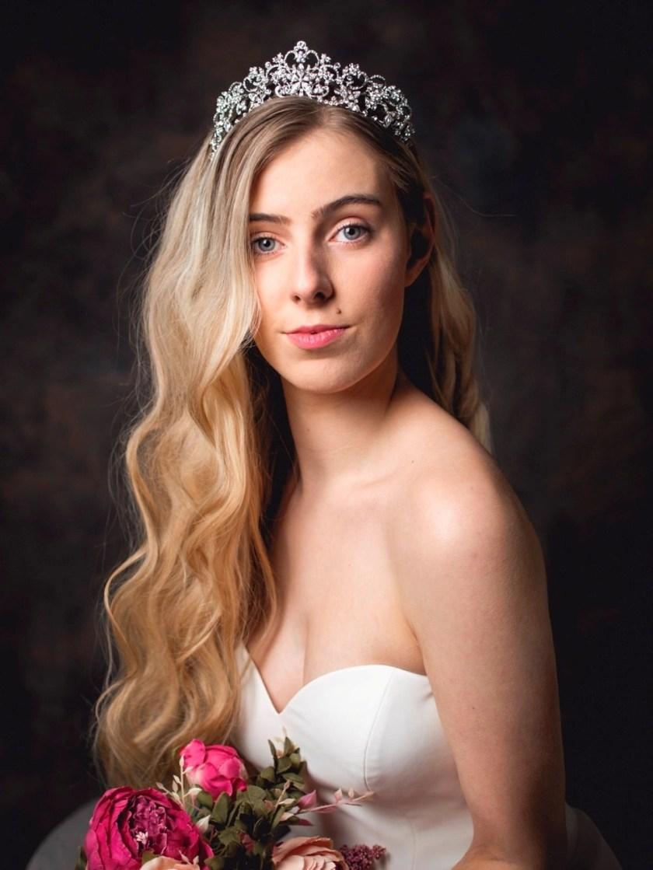 Regina large silver diamante bridal tiara on model bride