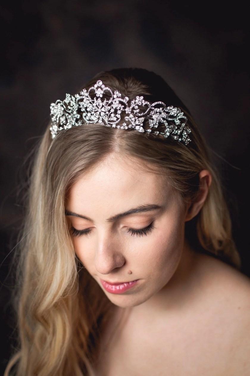 Regina large silver diamante bridal tiara on model bride closeup